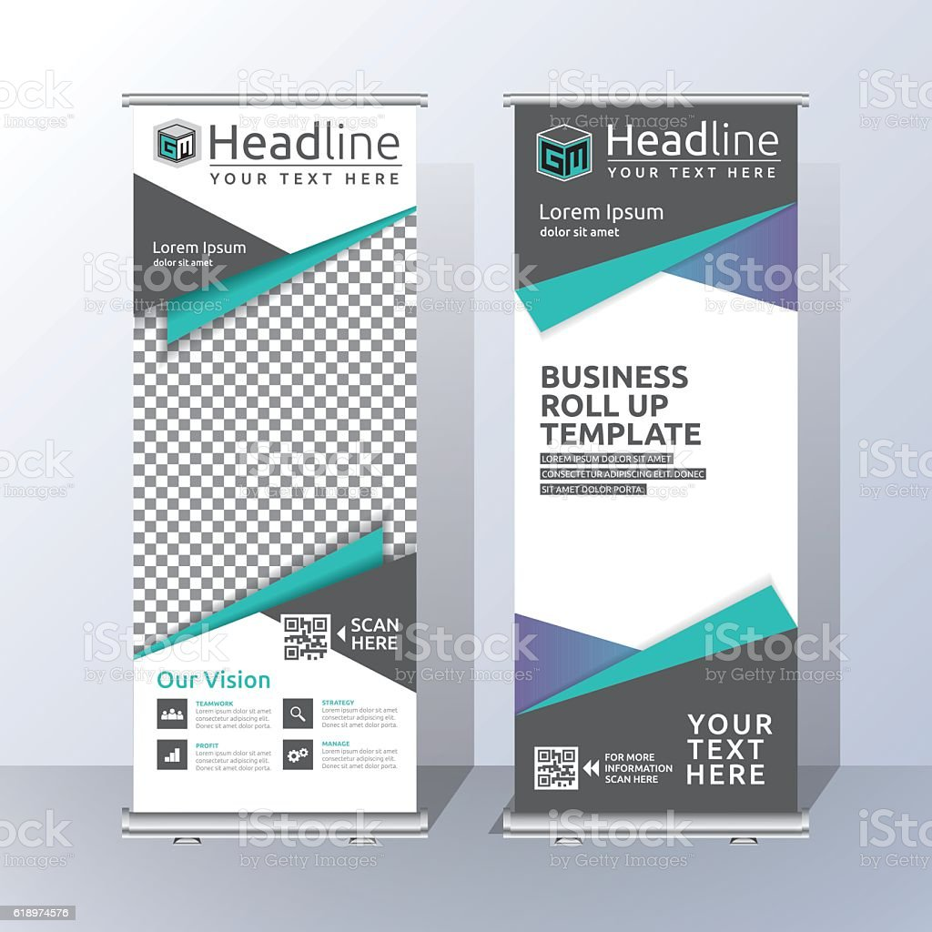 roll up banner template design stock vector art more images of abstract 618974576 istock. Black Bedroom Furniture Sets. Home Design Ideas
