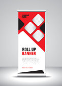 Roll up banner template vector, banner, stand, exhibition design, advertisement, pull up, x-banner and flag-banner layout