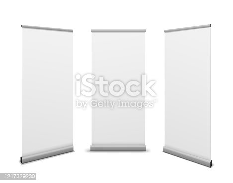 Roll up banners. Advertising billboard, promotional white poster mockup, empty info stand template exhibition presentation vector set