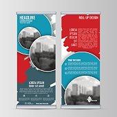 Roll up business banner design vertical template vector.