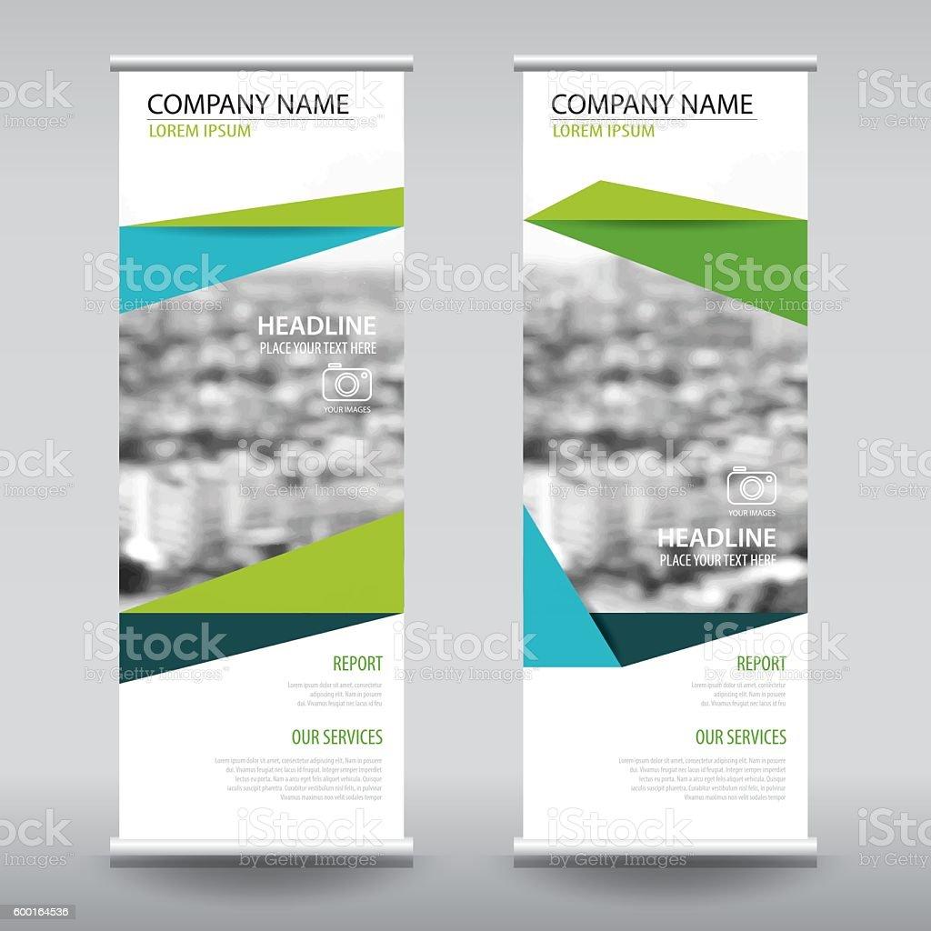 roll up business brochure flyer banner design vertical template vector art illustration