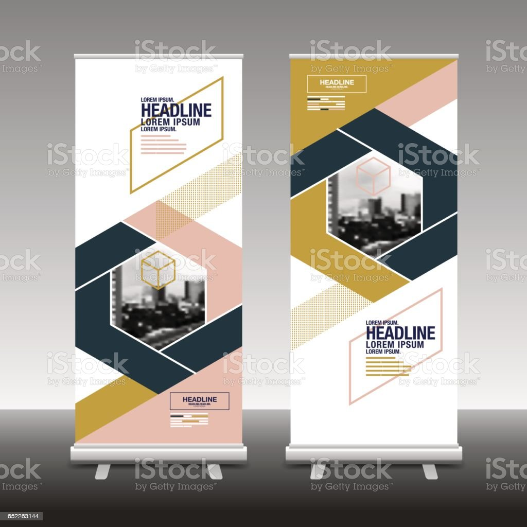 roll up business brochure flyer banner design vertical template vector. abstract geometric background. x-stand , x-banner and flag-banner. vector art illustration
