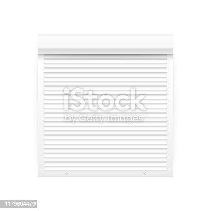 Roll up shutter on white backgroun. vector stock illustration.