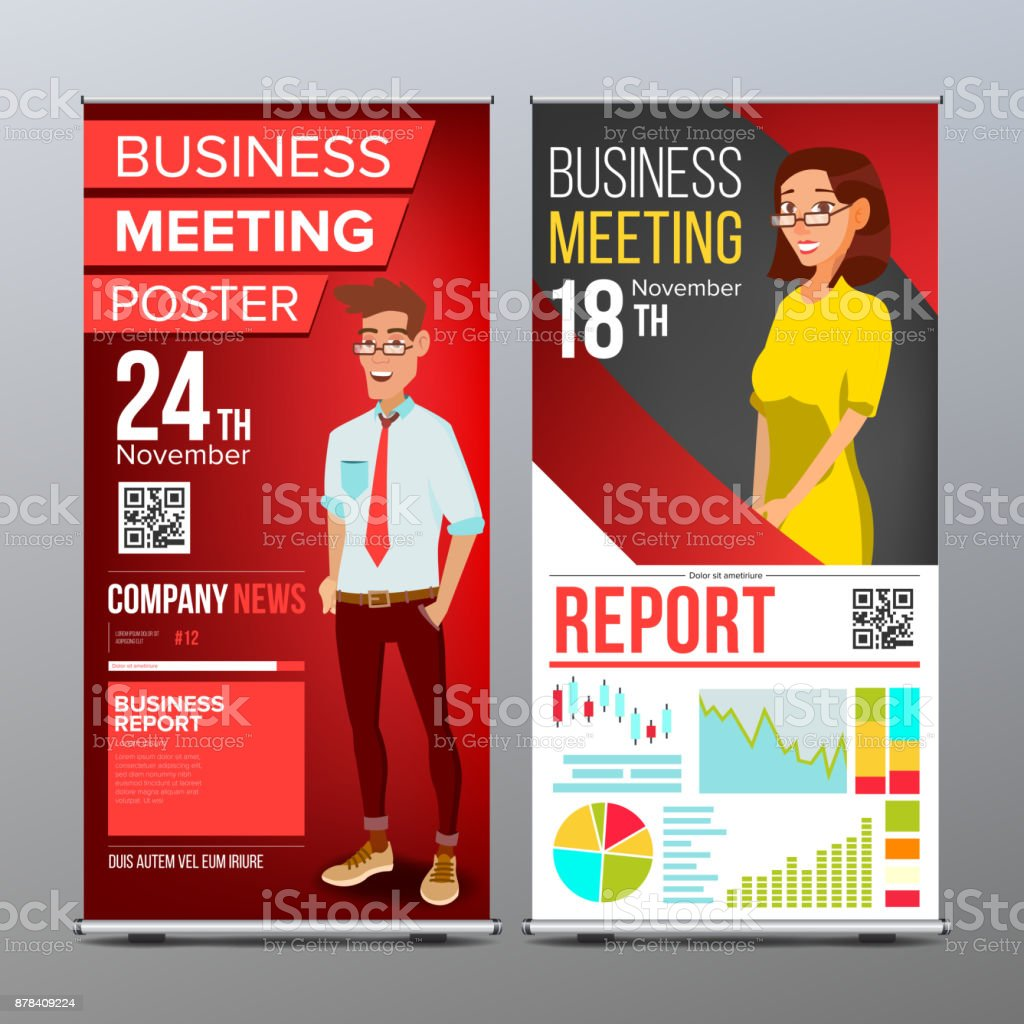 Roll up stand vector vertical flag blank design businessman and roll up stand vector vertical flag blank design businessman and business woman for stopboris Images