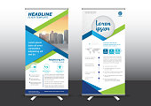 Designed for style applied to the expo. Publicity banners, business model, vertical blue and green tones they use.