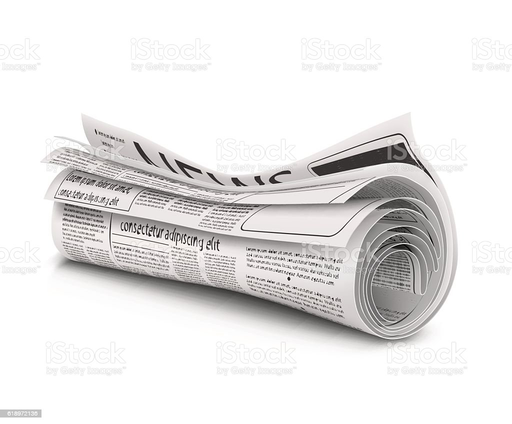 rolled newspaper with the headline news stock vector art & more