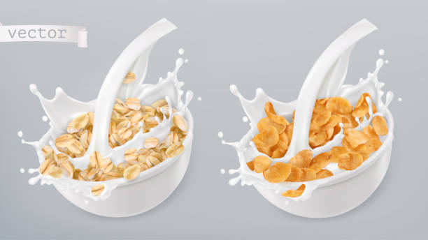 ilustrações de stock, clip art, desenhos animados e ícones de rolled oats and milk splashes. corn flakes. 3d realistic vector icon set - cereal