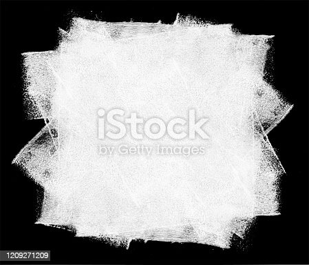 istock Rolled out big stain of white paint on a black background by hand and paint roller - abstract vector illustration with visible uneven irregular wide traces of paint and multilayered effects 1209271209