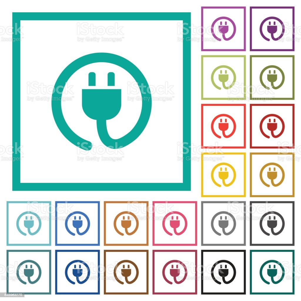 Rolled Power Cord Flat Color Icons With Quadrant Frames stock vector ...