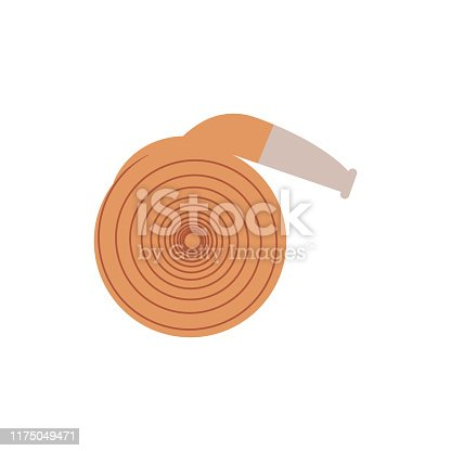 Rolled up fire hose - equipment for extinguishing with water isolated on white background. Flat vector illustration of element for firefighting and rescue service working.