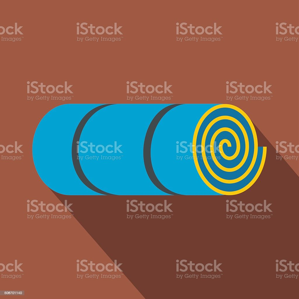 Rolled-up blue tourist mat vector art illustration