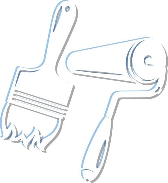 illustrations, cliparts, dessins animés et icônes de roller and paintbrush for painting - logo peintre en batiment