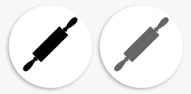 Roller Black and White Round Icon Roller Black and White Round Icon. This 100% royalty free vector illustration is featuring a round button with a drop shadow and the main icon is depicted in black and in grey for a roll-over effect. rolling pin stock illustrations