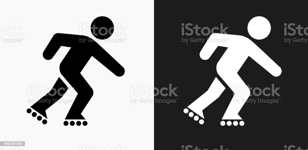 Roller Blading Icon on Black and White Vector Backgrounds vector art illustration