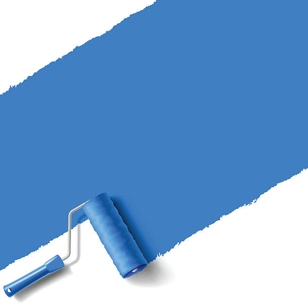 roller brush blue roller brush with blue paint wall paint roller stock illustrations