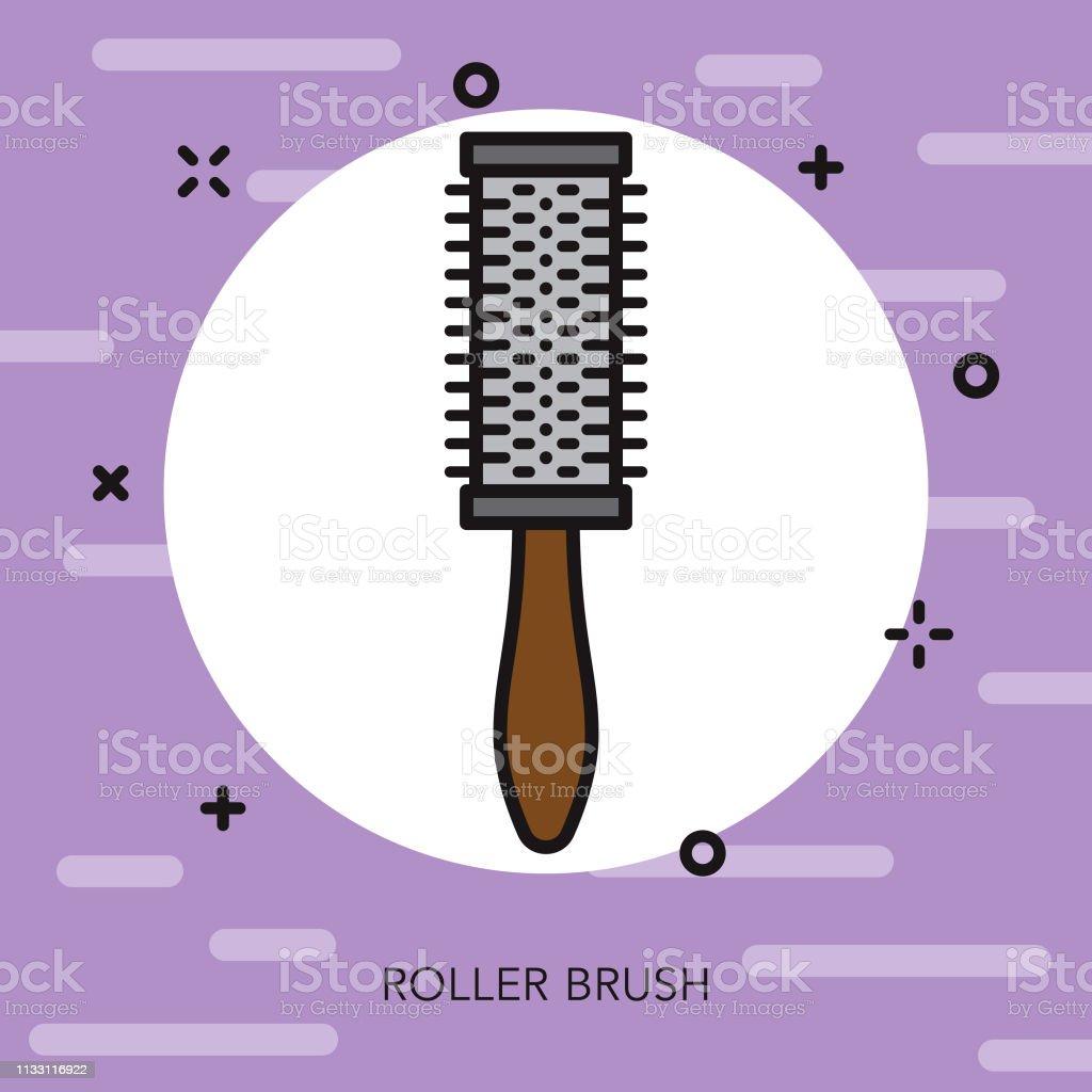 Roller Brush Hairdresser Thin Line Icon vector art illustration