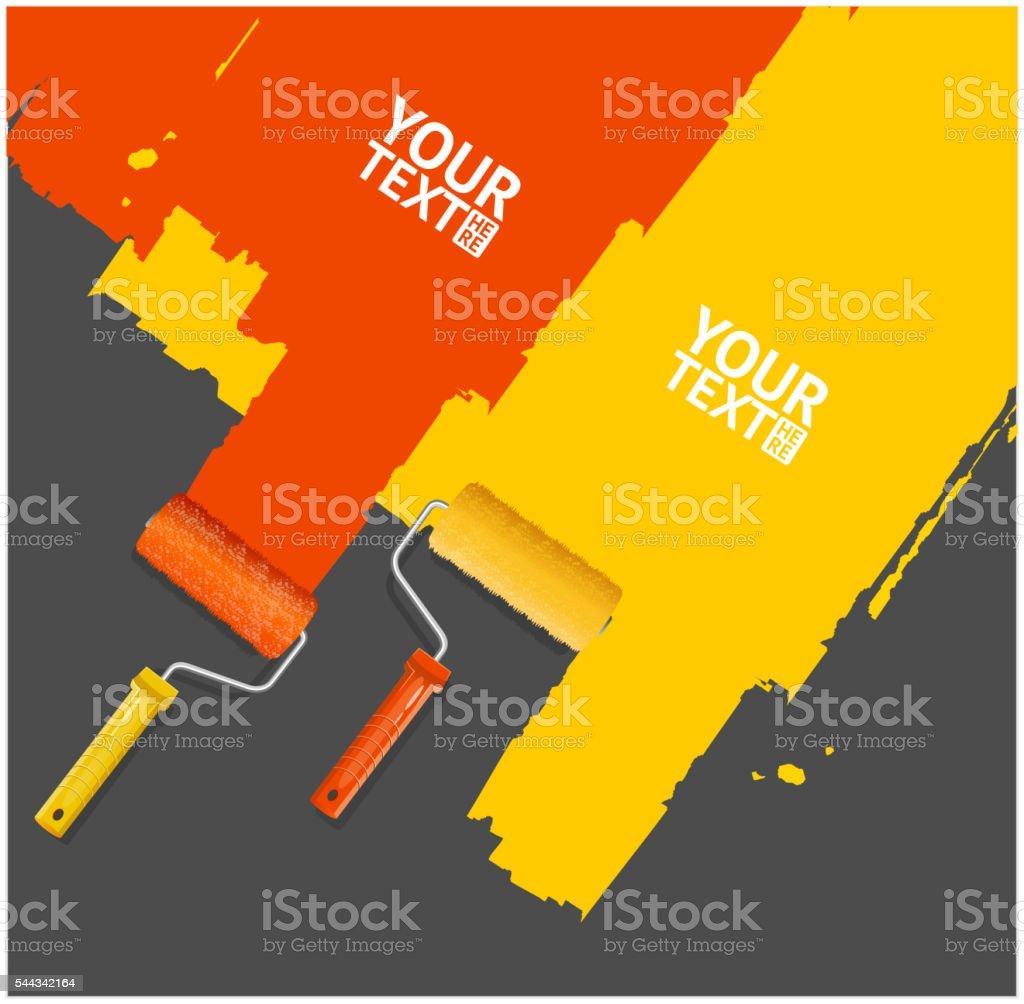 Roller Brush Painting Banner. Vector vector art illustration