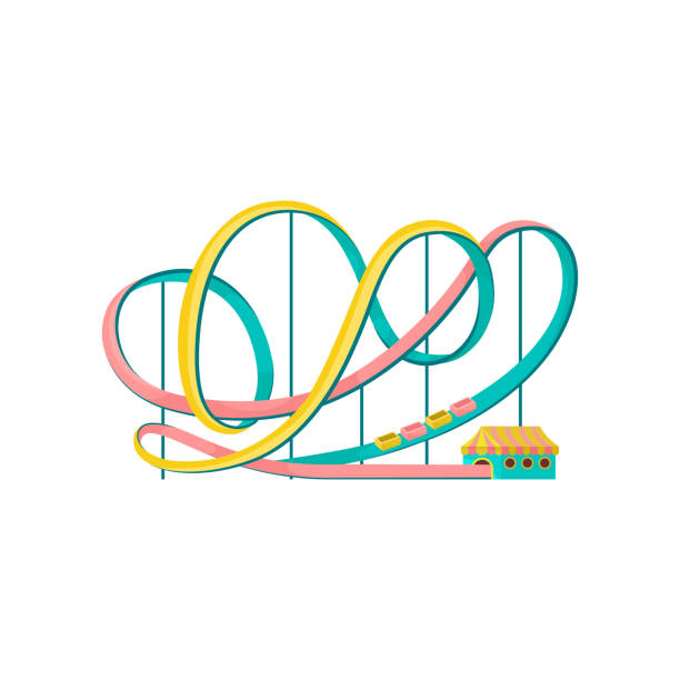 roller coaster, amusement park element vector illustration on a white background - roller coaster stock illustrations