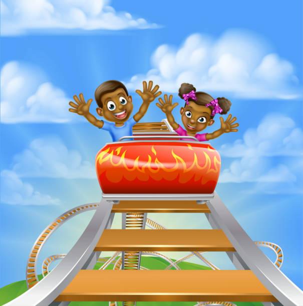 illustrations, cliparts, dessins animés et icônes de roller coaster cartoon - nuage 6