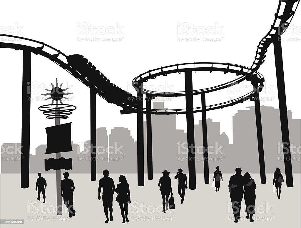 Roller Coaster City Vector Silhouette royalty-free stock vector art