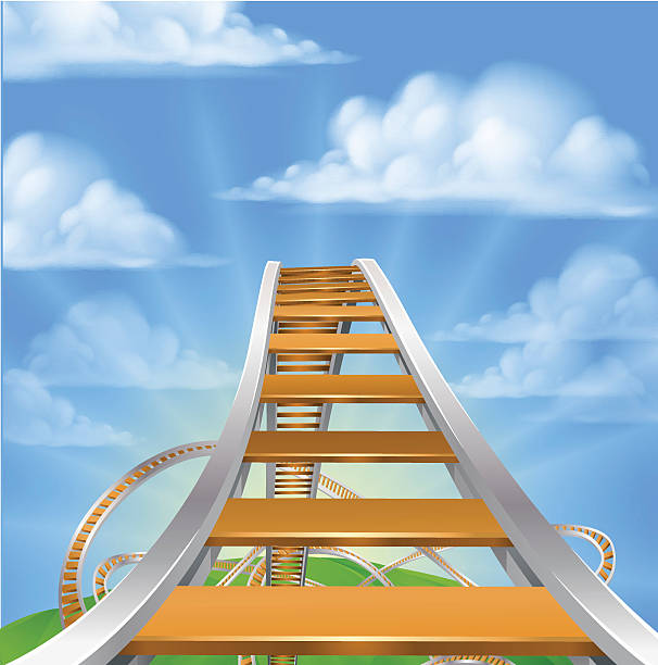 ilustraciones, imágenes clip art, dibujos animados e iconos de stock de montaña rusa concepto - roller coaster