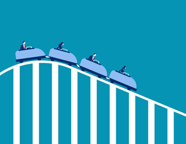 roller coaster economy. concept business vector illustration. flat character design. - roller coaster stock illustrations