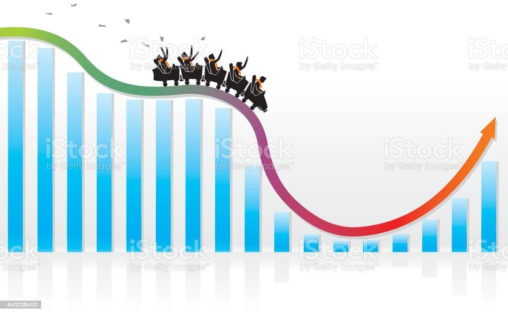 Achterbahn Wirtschaft Recovery – Vektorgrafik