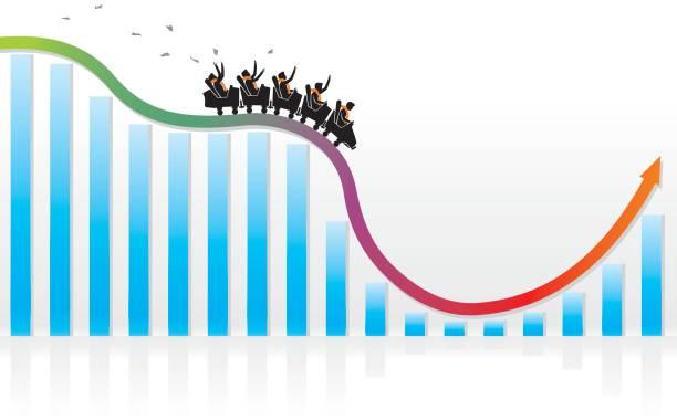 ilustraciones, imágenes clip art, dibujos animados e iconos de stock de recuperación de la economía rusa - roller coaster