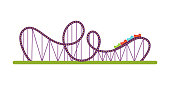 Roller coaster flat vector illustration. Amusement park classic attraction isolated design element. Entertainment industry. Funfair, carnival. Fun leisure activities for kids and adults