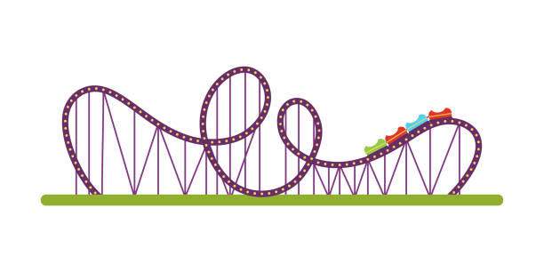 roller coaster flat vector illustration - roller coaster stock illustrations