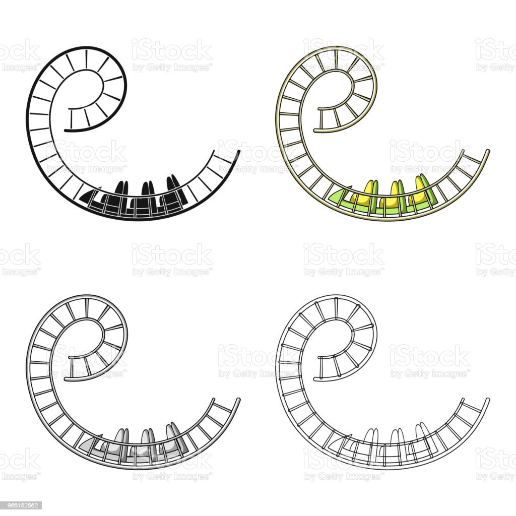 Roller coaster for children and adults. Dead loops, dangerous turns, terrible rides.Amusement park single icon in cartoon style vector symbol stock web illustration. - Royalty-free Adult stock vector