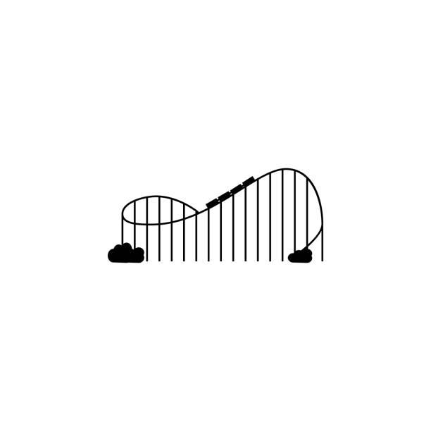 ilustraciones, imágenes clip art, dibujos animados e iconos de stock de icono de la montaña rusa. aplicaciones de concepto y web de parque de atracciones de elementos. icono de diseño web y desarrollo, desarrollo de aplicaciones. icono de premium - roller coaster