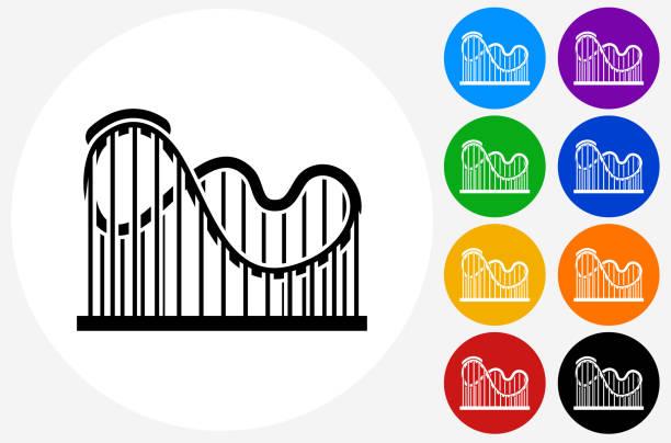 ilustraciones, imágenes clip art, dibujos animados e iconos de stock de roller coaster icon on flat color circle buttons - roller coaster