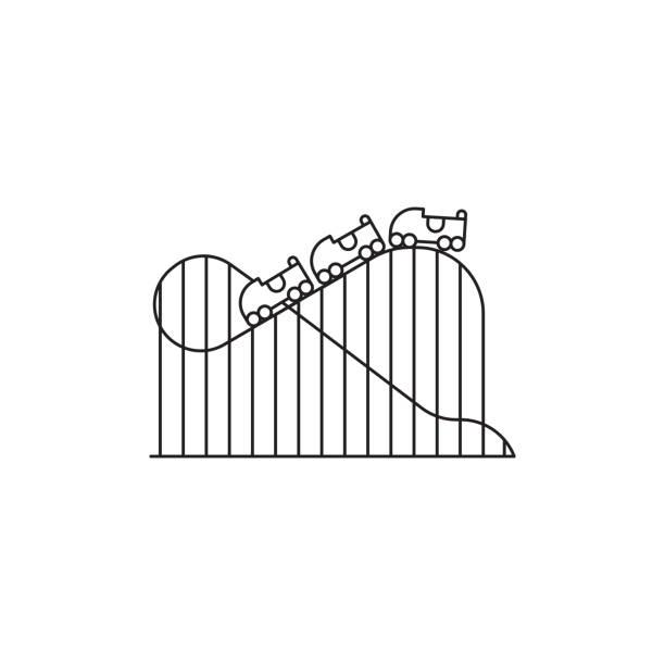 ilustraciones, imágenes clip art, dibujos animados e iconos de stock de montaña rusa icono vector diseño lineal aislado sobre fondo blanco. plantilla de logotipo parque, elemento para parque de atracciones, objeto de icono de la línea - roller coaster