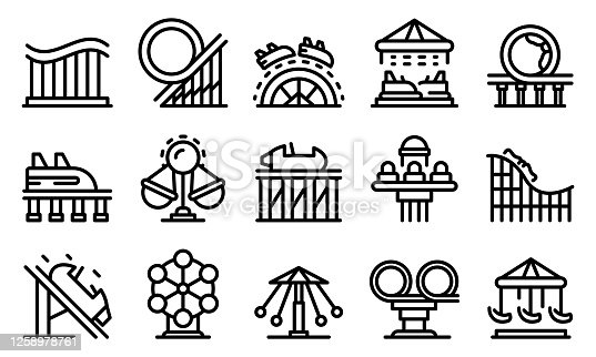 Roller coaster icons set. Outline set of roller coaster vector icons for web design isolated on white background