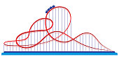 Roller coaster in amusement park. Illustration in flat style isolated on white background.