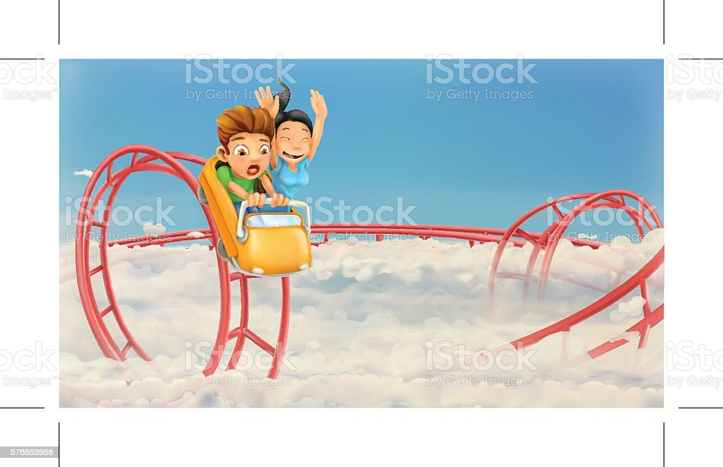 Roller coaster in the clouds, vector background – Vektorgrafik
