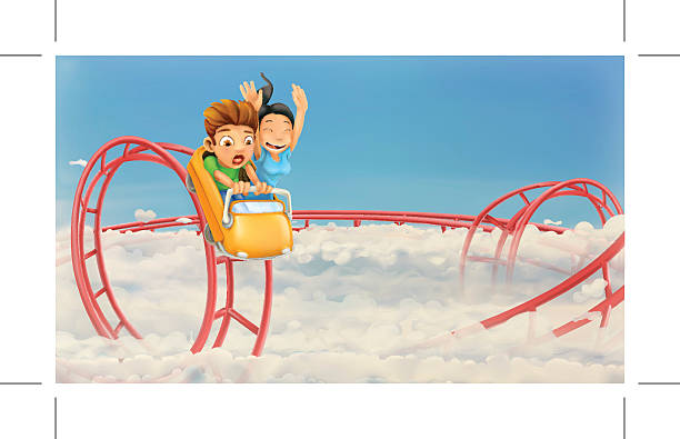 roller coaster in the clouds, vector background - roller coaster stock illustrations