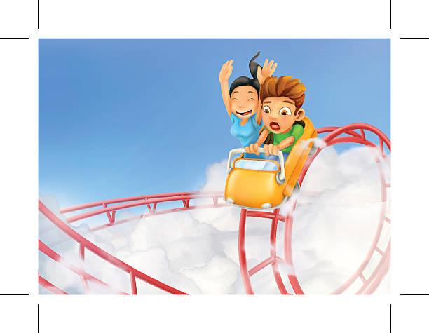 ilustraciones, imágenes clip art, dibujos animados e iconos de stock de roller coaster in the clouds, vector background - roller coaster