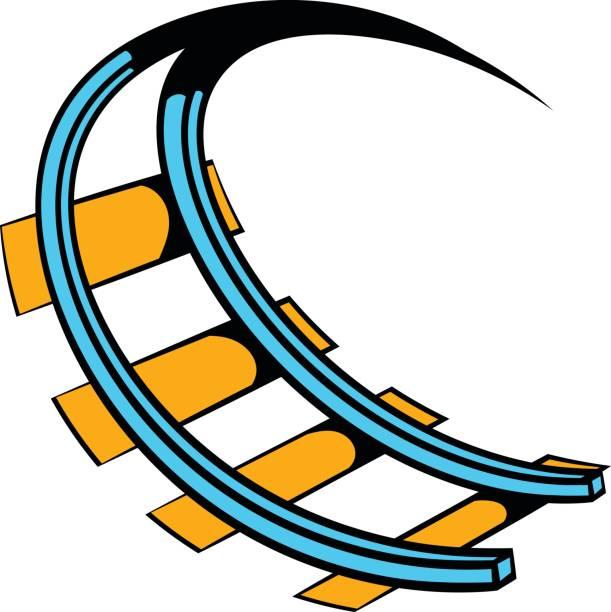 ilustraciones, imágenes clip art, dibujos animados e iconos de stock de roller coaster ride icono de dibujos animados icono - roller coaster