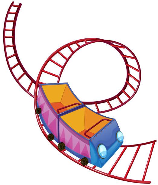 ilustraciones, imágenes clip art, dibujos animados e iconos de stock de montaña rusa ride - roller coaster