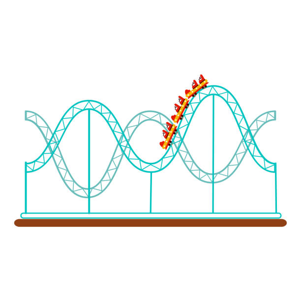 roller coaster, rollercoaster amusement park ride - roller coaster stock illustrations