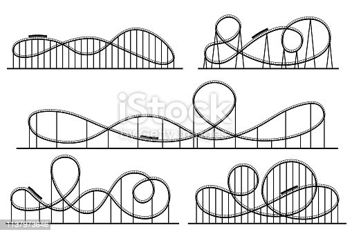 Roller coaster silhouette. Amusement park attractions, switchback attraction and rollercoaster. Fair coasters construction, amusements rollercoaster. Vector isolated symbols silhouettes set