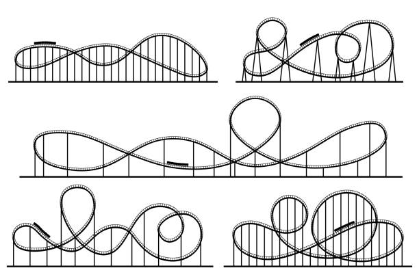 roller coaster silhouette. amusement park attractions, switchback attraction and rollercoaster vector silhouettes set - roller coaster stock illustrations