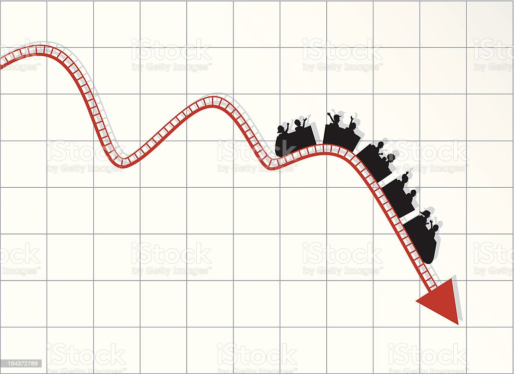 Roller coaster stock market - Business crisis diagram vector art illustration