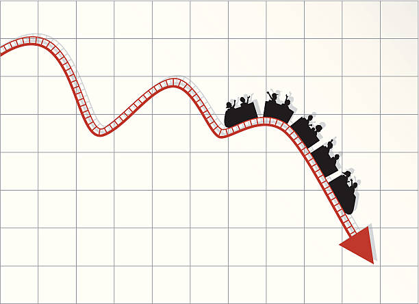 roller coaster stock market - business crisis diagram - roller coaster stock illustrations