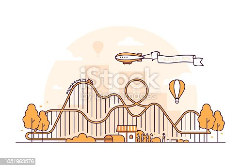 Roller coaster - thin line design style vector illustration on white background. High quality orange colored image with an attraction, people, silhouette of city buildings. Funfair, leisure concept