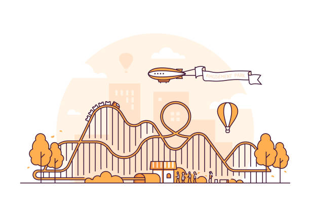 roller coaster - thin line design style vector illustration - roller coaster stock illustrations