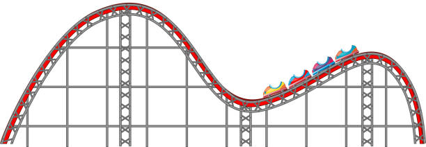 roller coaster track on white background - roller coaster stock illustrations