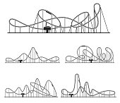 Roller coaster various route set. Amusement rides collection. Railroad tracks with tight turns, steep slopes, inversions for fun in park. Extreme entertainment. Vector illustration isolated on white.